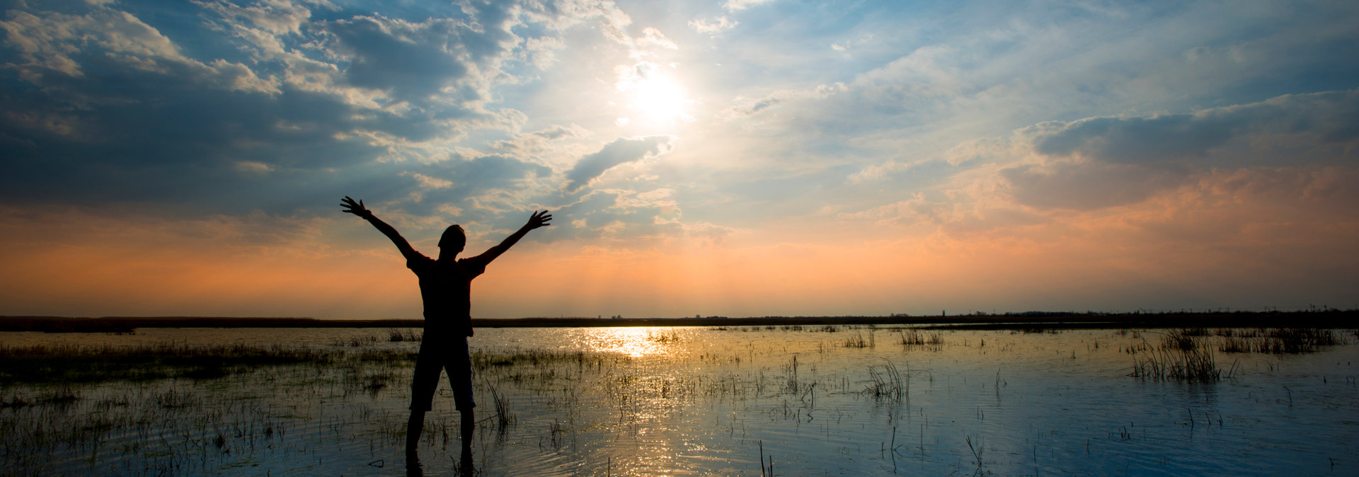 Experience Energy Healing from Dr. Tanya English. Man Holding Arms to sky in front of sun.